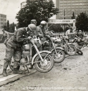 photo - a group of riders with Jawa Motorcycles in work area ISDT 1955 (©V Heckel)