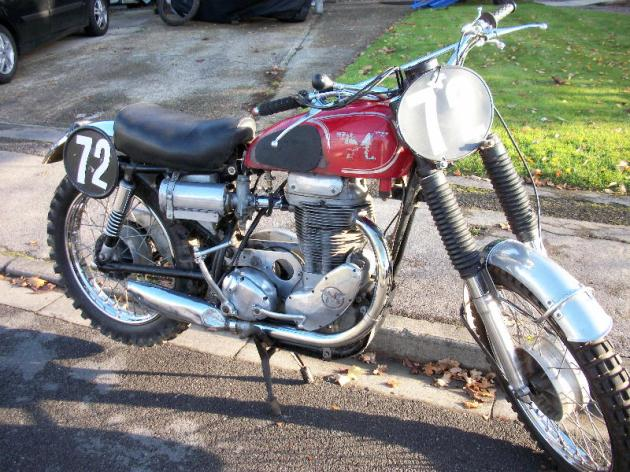 Photo of 1960 Matchless G80CS ridden by Tony Jones in several ISDT's  in the 1960's (Courtesy Ralph Brown )