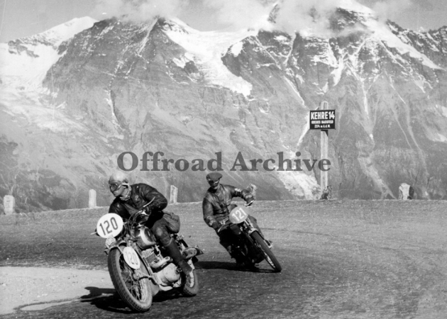 photo - #120 NSKK Mann G Keitel 350 DKW leads #121 GN Wood 343cc Triumph on the Grossglockner ISDT 1939 (Courtesy Deryck Wylde)