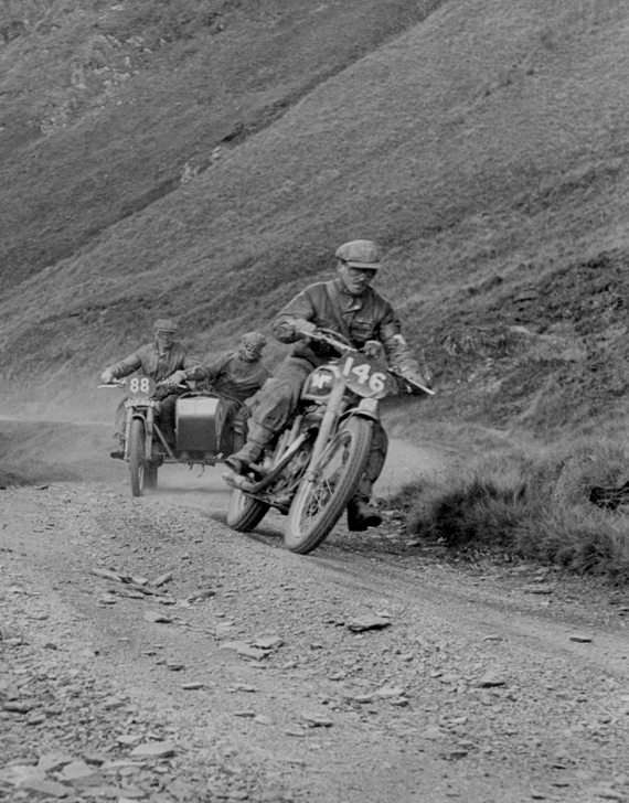 Photo - #146 Ted Usher (Matchless) climbs Bwlch y Groes followed by #88 A J Humphries (Norton sc) ISDT 1949 (Courtesy Deryck Wylde collection)