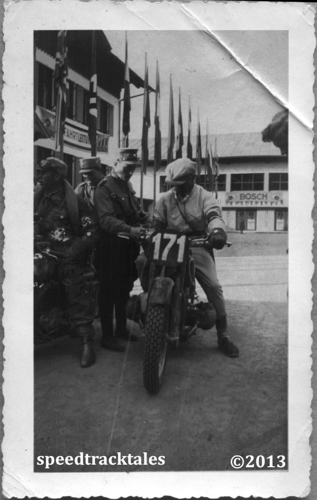 photo - EJ Henne German M/c legend on his factory BMW 500 - ISDT 1935 (Speedtracktales collection)