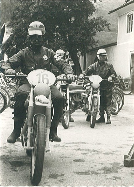 Photo - #16 Fausto Vergano 98cc Gilera Italy  'B' Silver Vase team Gold medal #17 Karl Wessel 97cc Hercules West Germany  Silver medal #18 Vaclav Vlk 100cc CZ Czechoslovakia Gold Medal ISDT 1960
