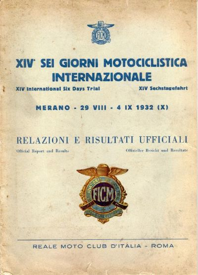 Image of scanned cover of Official results and report ISDT 1932