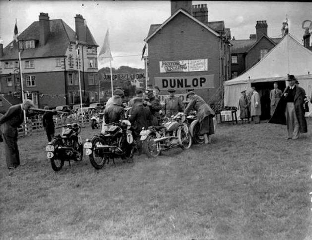Photo of motorcycles queuing for scrutineering ISDT 1937 (Courtesy of Dave Martin)