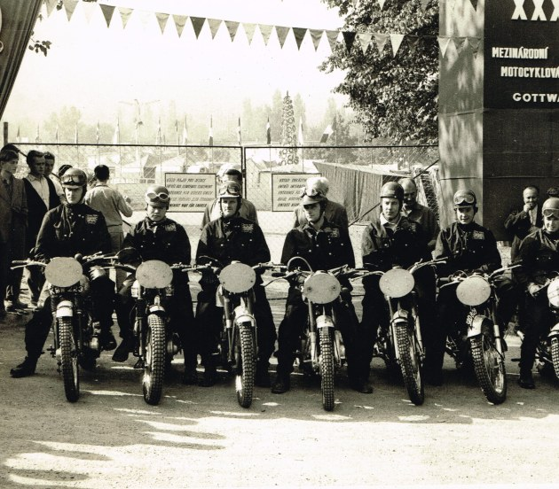 Photo - British Trophy team with their race face on in Czechoslovakia ISDT 1959 (Colin Moram collection)