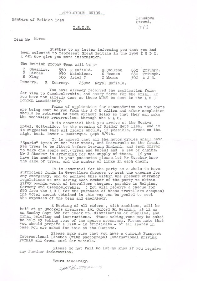 Image - scanned copy of Colin Moram's appointment letter to the British Trophy team ISDT 1959 (Colin Moram collection)