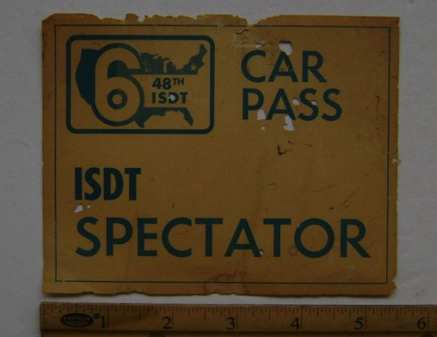 Photo - Competitors Carpark pass ISDT 1973