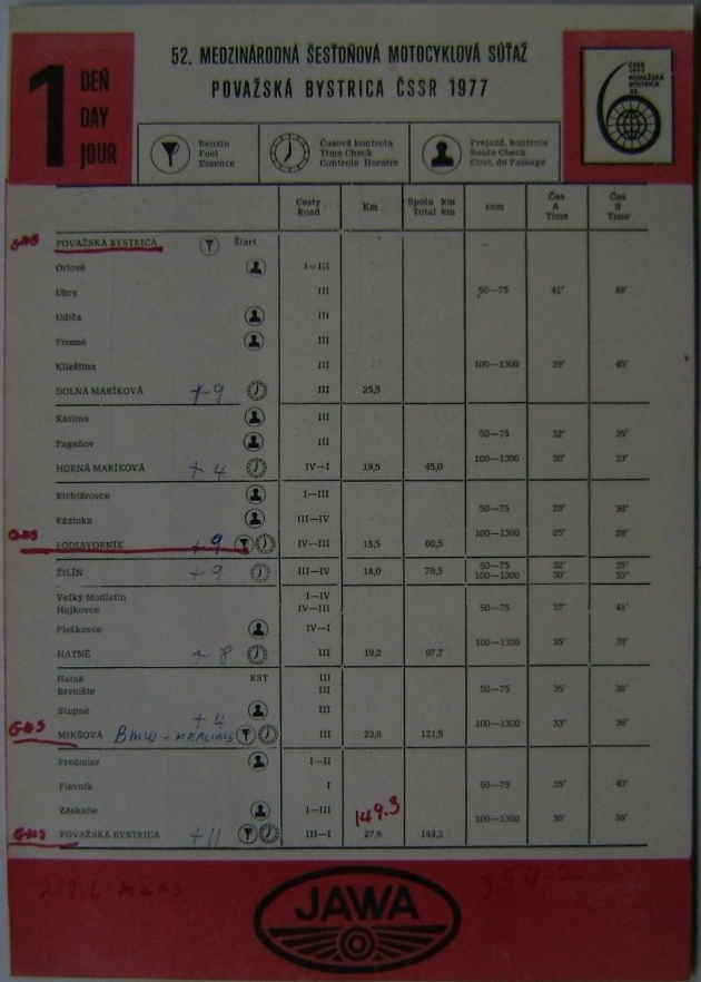 Photo - Timecheck Route schedule sheet Day 1 ISDT 1977