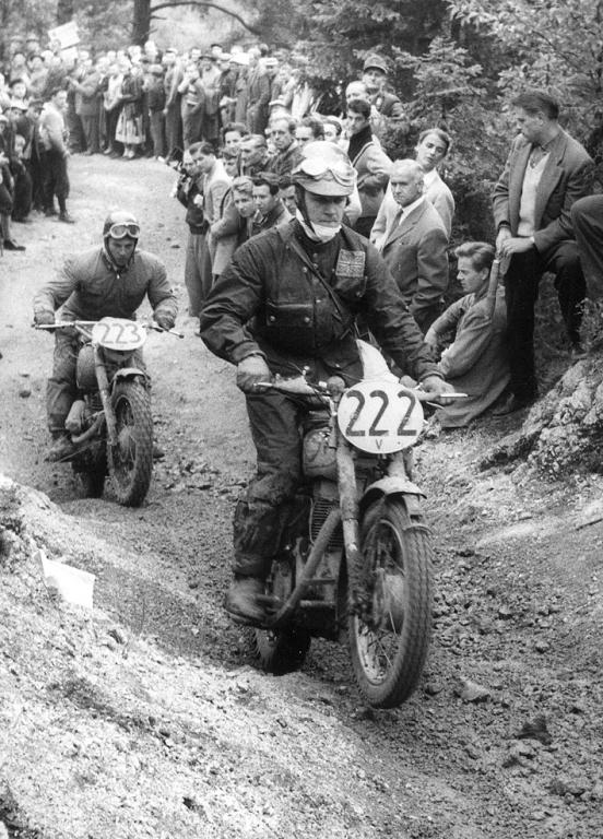 #222 Peter Stirland 346 Royal Enfield ( listed in Programme as GB Vase 'B' team but bearing a Trophy Team number plate followed by #223 Karl Zohrer on 282cc Puch for Austria Silver Vase 'A' team in the ISDT 1958 (courtesy Deryck Wylde collection)