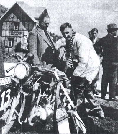Photo - Henne BMW of German Trophy Team with on left Kroth the president of ADAC ISDT 1931 (Speedtracktales Archive)