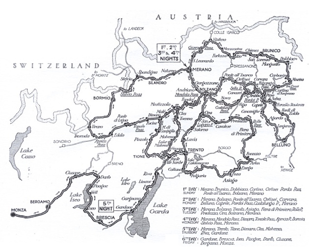 Image - scanned copy of original route map for the ISDT 1931