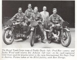 Photo of BSA mounted Royal Tank Corps team of Paddy Doyle [EOG 20], Fred Rist and Jackie Wood [EOG 22] with Joe Acheson and former ISDT legend and now BSA Factory staffer Bert Perrigo