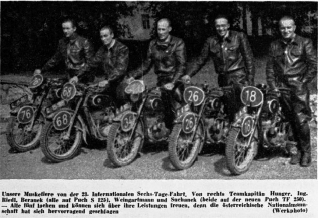 Photo - Austian Trophy team who placed second ISDT 1948