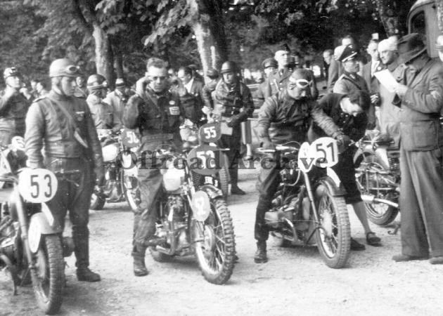 photo -#51 NSKK Ortuf S Hofmann 494 BMW #52 Allen Jeffries 498 Triumph #53 Schirmm S Lück 494 BMW #55 Palois 500 Guzzi from Italy ISDT 1939 (Courtesy Deryck Wylde)