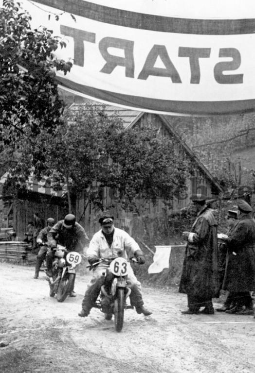 photo -  #63 T Blockley 496 BSA leads #59 J v Poschinger 597 BMW  at the start of a hill climb test ISDT 1939 (Courtesy Deryck Wylde)