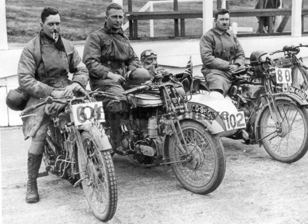 Photo - Great Britian Silver Vase 'B' Team #64 Graham Walker Sunbeam [?? 1778] #102 P Pike (Norton sc) [CO 9608] #80 J Lidstone AJS [OM 4681] ISDT 1926 (Courtesy Deryck Wylde Collection)