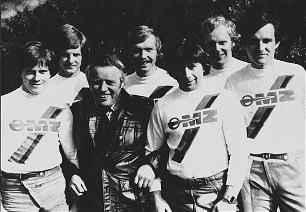 Photo - East Germany's winning Trophy Team all MZ mounted ISDT 1978