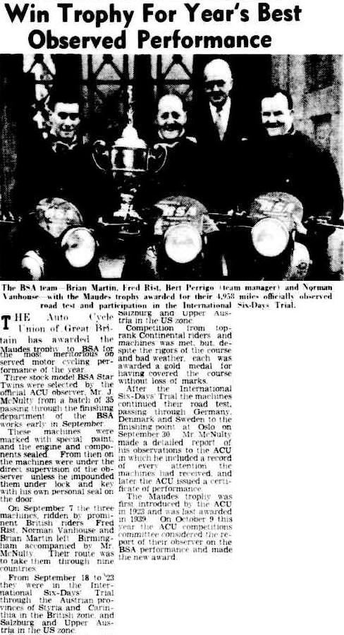 image - scanned photo from 'the Advertiser' Adelaide 30 Oct 1952 with Team BSA including Brian Martin, Fred Rist, Bert Perrigo (Team Manager), and Norman Vanhouse and the Maude's Trophy after the officially measured road test and the ISDT 1952