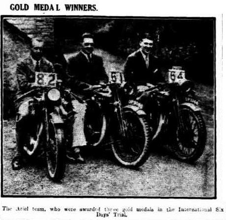 Image - scanned photo from 'the Advertiser' Adelaide 2 Aug 1928 of the Gold Medal winning Ariel team of #82 G B Proe 4.98hp Ariel #52 #64 at ISDT 1928