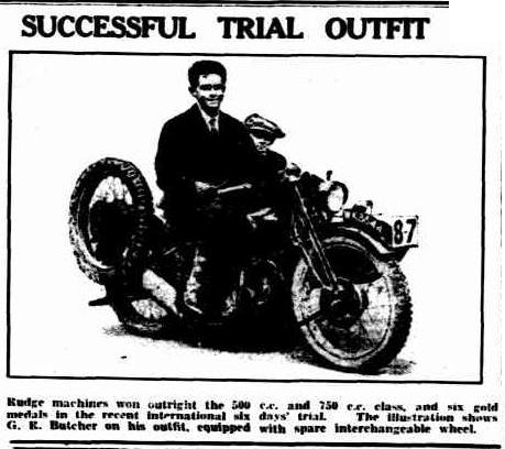 image - scanned photo in report in 'the Advertiser' Adelaide 19 Sep 1929 of GE Butcher on his Rudge Sidecar ISDT 1929