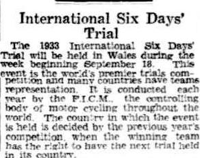 image - scanned article anouncing start of ISDT from theAdvertiser, Adelaide, Australia 6 July 1933 ISDT 1933