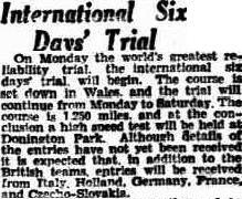 Image - scanned article on event in the Advertiser, Adelaide, Australia 14 September 1933 ISDT 1933
