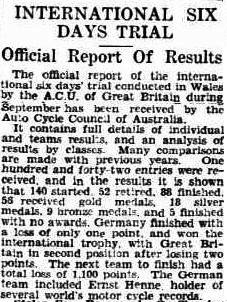 Image - scanned article on event results in the Advertiser, Adelaide, Australia 23 November 1933 ISDT 1933