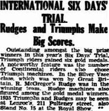 image - scanned article 'the Advertiser' Adelaide, South Australia reports success of Triumph and Rudge riders at ISDT 1934