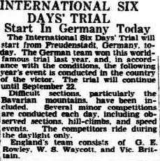 image - scanned article announcing the start of this years event in Germany in the Advertiser, Adelaide Australia 17 September 1936 ISDT 1936