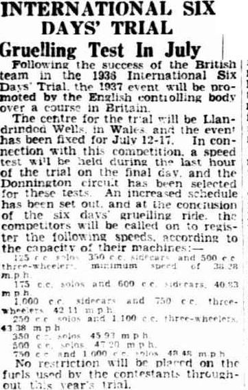 Image - scanned article in the Advertiser, Adelaide, Australia 1 April 1937 with some details of the event speed test ISDT 1937