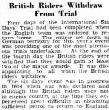 Image - scanned article from 'the Advertiser' Adelaide South Australia 12 October 1939 reports the abandonment of the British from the ISDT 1939 as the Second War World was commencing.
