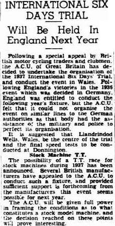 image - scanned article in 'the Advertiser' Adelaide South Australia provides an insight in to why the ACU decided to hold the ISDT 1937