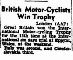 image - scanned report in the Argus, Melbourne, Australia of result ISDT 1949
