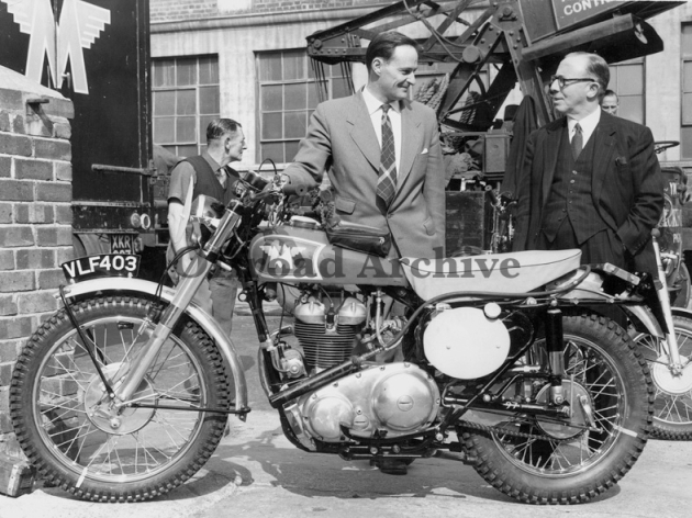 Photo - Bob Manns with Donald Heath in a Matchless Press image showing the bike Bob took to the ISDT in 1958 (Courtesy Deryck Wylde collection)