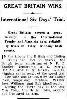 image - scanned article in Brisbane Courier, Queensland, Australia 13 October 1932 ISDT 1932
