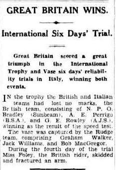 image - scanned article in Brisbane Courier, Queensland, Australia 13 October 1932 ISDT 1932