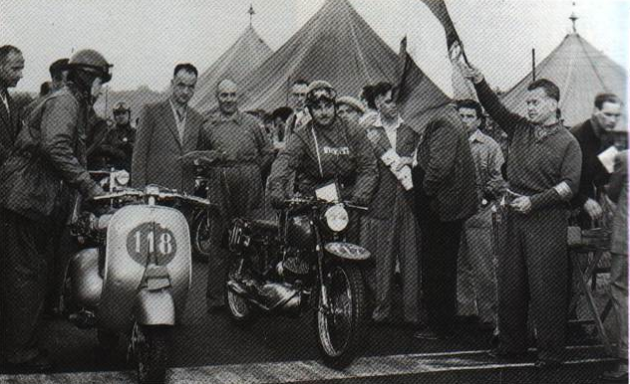 Photo of Bruno Romano at the start ISDT 1951