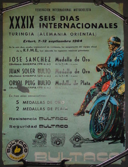 Photo - Sales poster from Bultaco (Spanish) indicating success of team in ISDT 1964