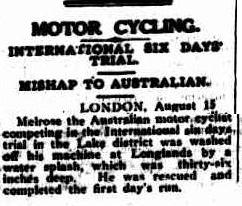 Image - scanned report in Cairns Post 17 Aug 1927 reporting how Australian rider Melrose was washed off his bike at Longlands in 36