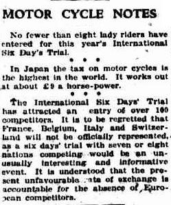 image - scanned article in Canberra Times, Australia 31 Dec 1926 commenting on the economic issues in Europe impacting on entry numbers to the ISDT 1927