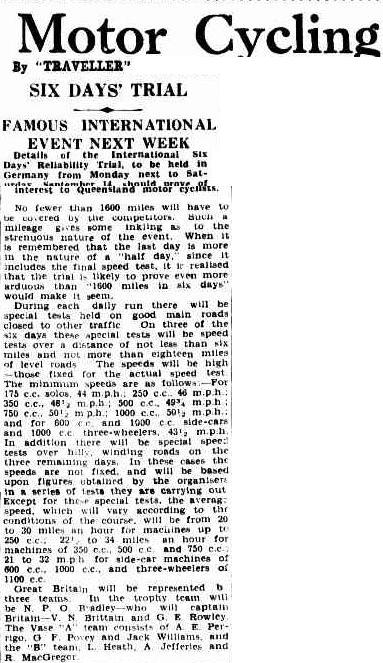 image - scanned article in the Courier Mail, Brisbane, Queensland. Australia which provides some insight into the background details for the ISDT 1935