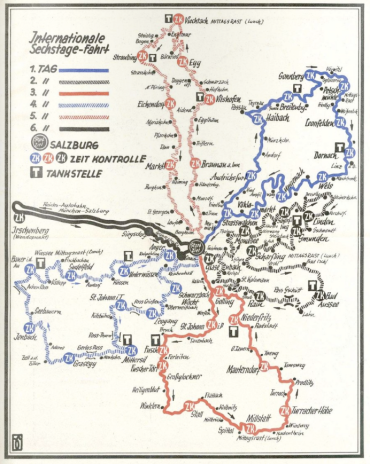 Image - map of all 6 days route ISDT 1939