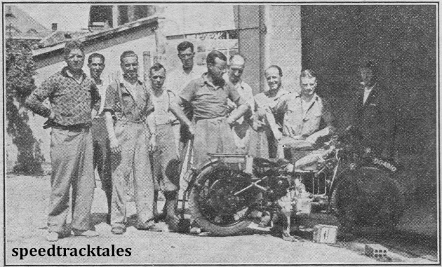 photo - at Merano last Sunday - Len Crisp, ALS Denyer and George Rowley can be recognised in this group of British riders and visitors. ISDT 1932 (Speedtracktales archive)