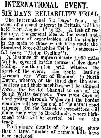 image - scanned article in the Daily News, Perth, Western Australia 20 August 1925 ISDT 1925