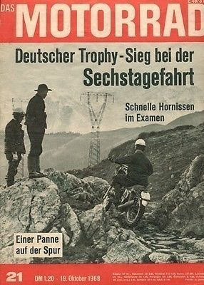image - cover of Das Motorrad 18 Oct 1968 with a report of the ISDT 1968