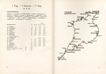 image - scanned map and checkpoint details for day 1 ISDT 1939