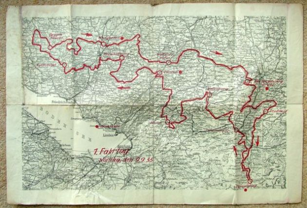 photo - route map of day 1 route ISDT 1935