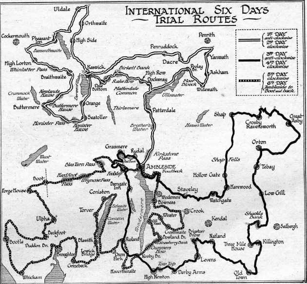 Image of scanned map of course of ISDT 1927