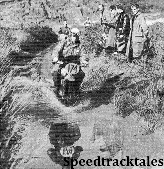 photo - Deep water was encountered on many parts of the Eppynt Artillery range. The leading rider is #174 O. Haas (247 NSU). Behind him is L Erlandsson (174 Husqvarna), of Sweden ISDT 1954 (Speedtracktales Archive)