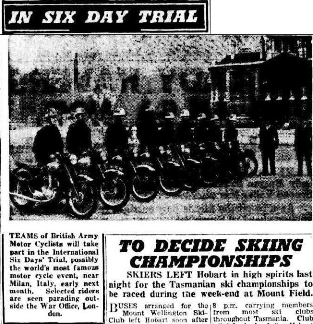 image - scanned photo from 'the Examiner' Launceston ,Tasmania featuring British Army team riders due to compete in ISDT 1951